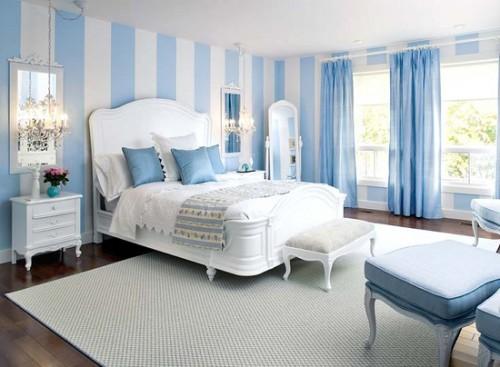 giấy dán tường màu xanh và trắng