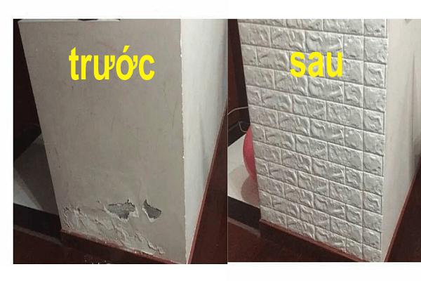 trước và sau khi dán xốp
