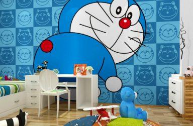 Giấy dán tường Doremon, mẫu giấy dán tường cho trẻ em
