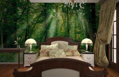 """Gợi ý cách """"Make-up"""" phòng ngủ với giấy dán tường màu xanh"""