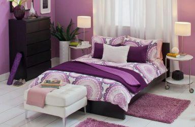 Thảm trải sàn màu tím đem lại sự lạng mạn cho phòng ngủ