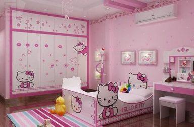 Giấy dán tường hello kitty, mẫu giấy dán tường cho bé gái